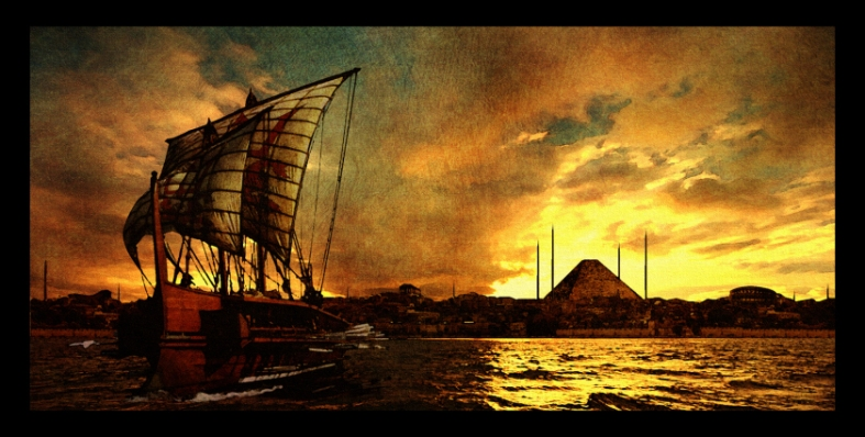 Hedonian trireme at sunrise