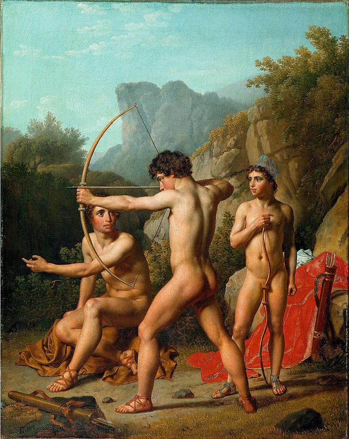 three-spartan-boys-practising-archery-christoffer-wilhelm-eckersberg